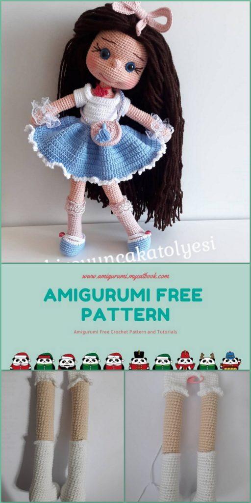 Cat doll in sundress crochet pattern - Amigurumi Today | 1024x512