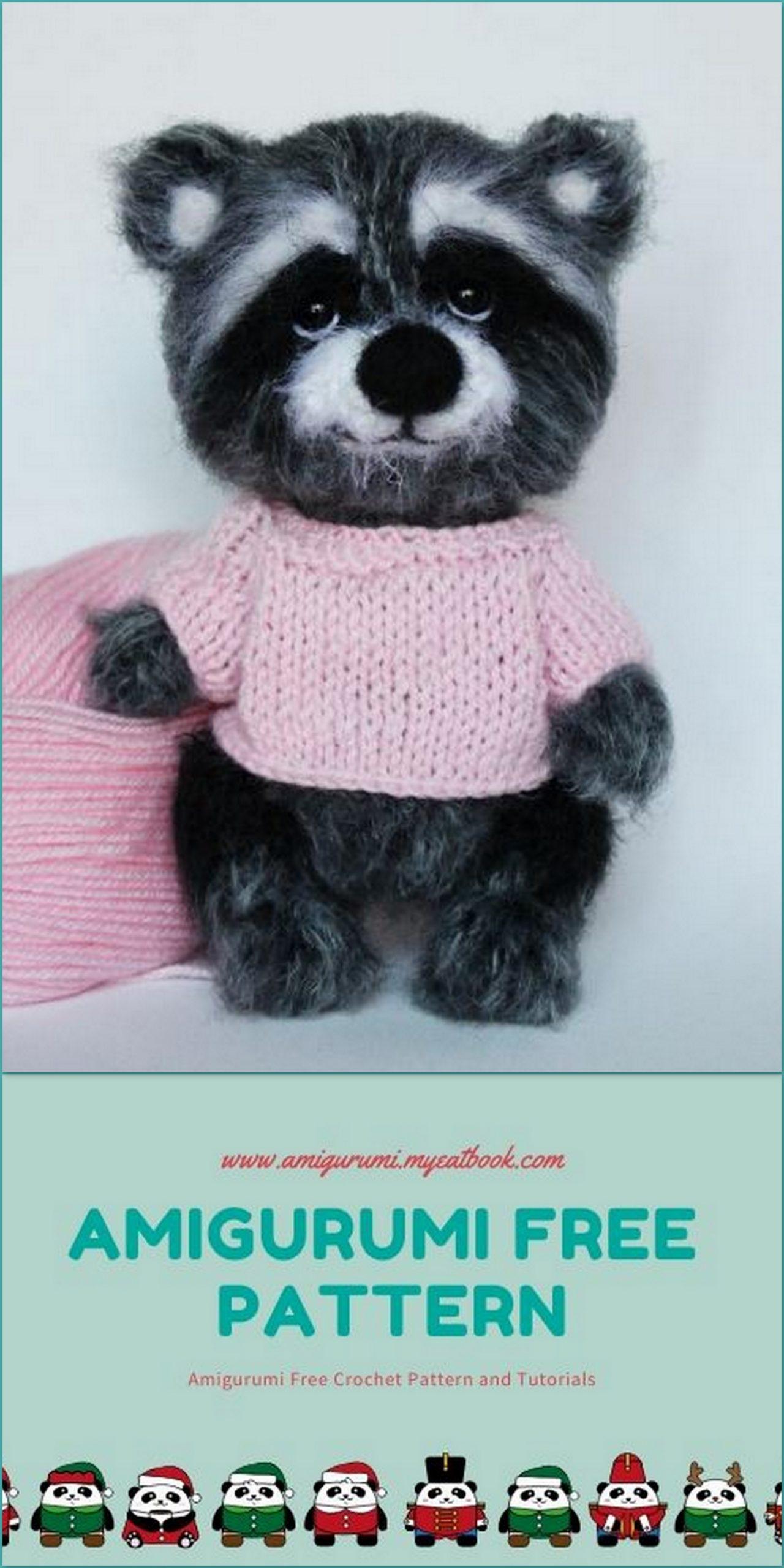 Raccoon Amigurumi Free Crochet Pattern | 2560x1280