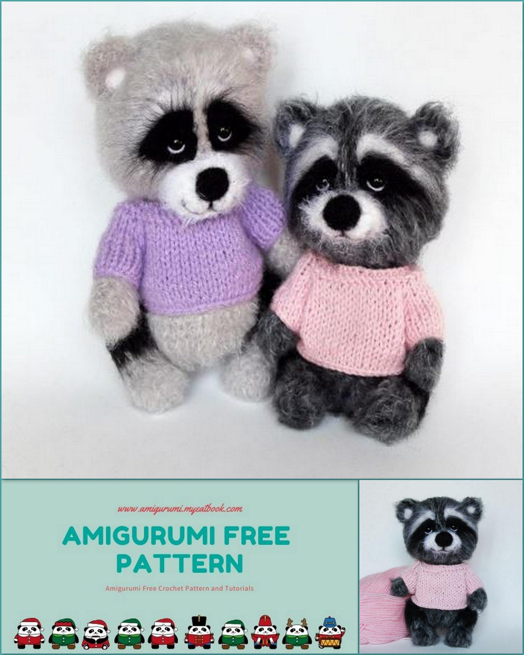 Amigurumi raccoon free pattern | Amiguroom Toys | 2560x2048