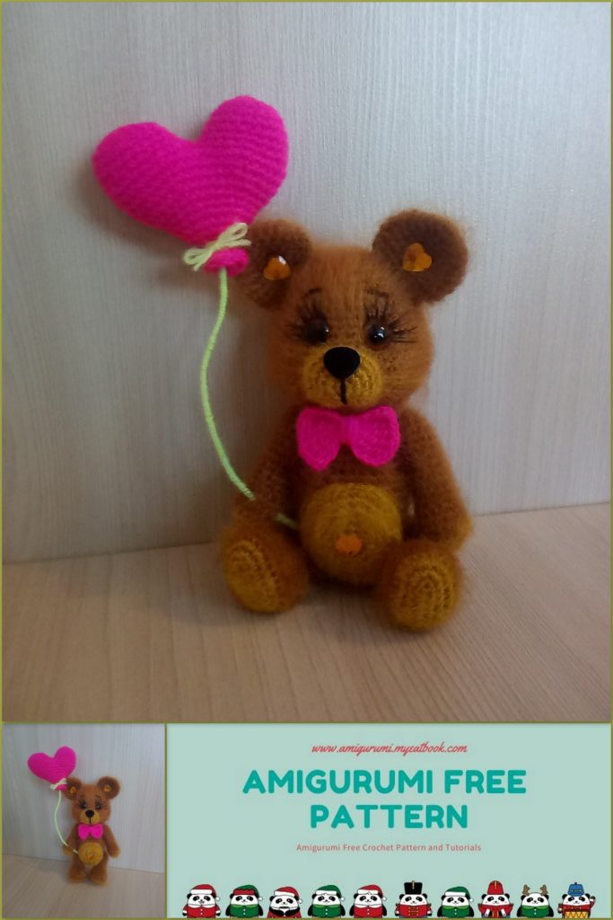 Download Little Valentine Bear Amigurumi Pattern (FREE) | Bear ... | 1024x683